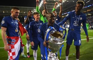 Kante celebrates Champions League glory with Chelsea.