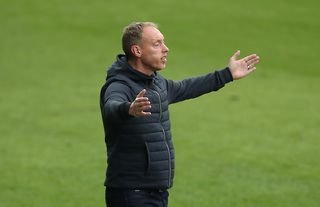 Swansea manager and Crystal Palace target Steve Cooper looking unimpressed