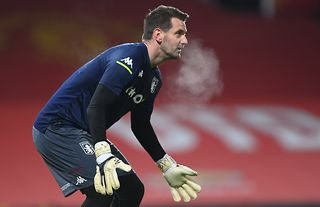 Tom Heaton warming up for Aston Villa amid talks of a switch to Man United