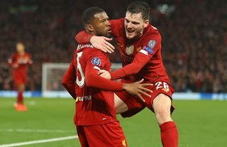 Georginio Wijnaldum and Andy Robertson in action for Liverpool