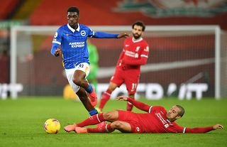 Brighton's Yves Bissouma in action against Liverpool amid speculation over his future