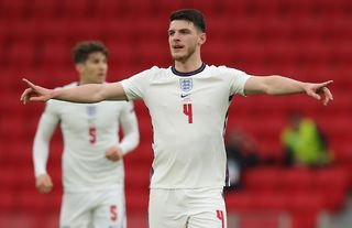 West Ham and England midfielder Declan Rice giving instructions to his teammates