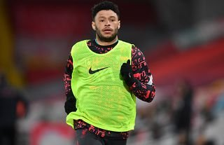 Alex Oxlade-Chamberlain warming up for Liverpool amid speculation over his future