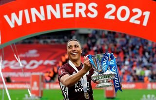 Youri Tielemans of Leicester City celebrates winning the Emirates FA Cup