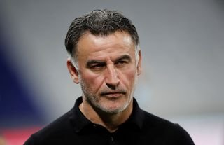 Former Lille manager and Everton target Christophe Galtier looking serious
