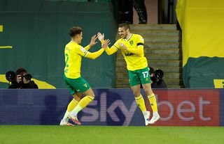 Norwich winger and soon-to-be Aston Villa player Emiliano Buendia with Max Aarons