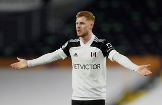 Fulham midfielder and Leeds target Harrison Reed questions a decision