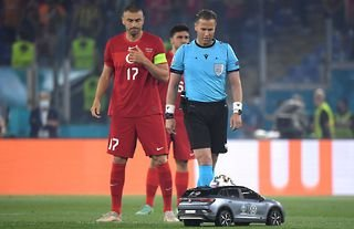 A remote control car genuinely delivered the match ball for Italy vs Turkey