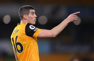 Wolves captain and Everton target Conor Coady giving instructions