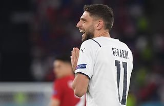 Domenico Berardi in action for Italy amid speculation over a move to Tottenham