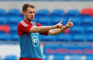 Juventus midfielder and Crystal Palace target Aaron Ramsey in Wales training