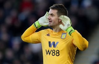 Aston Villa goalkeeper and Manchester United target Tom Heaton in action