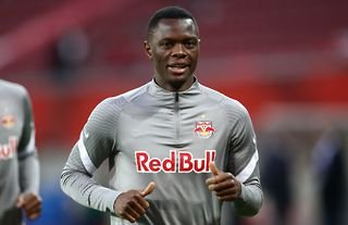 Patson Daka warming up for RB Salzburg amid speculation over a move to Liverpool