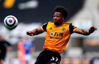 Adama Traore in action for Wolves in the Premier League