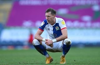 Barry Douglas looks dejected playing for Blackburn Rovers