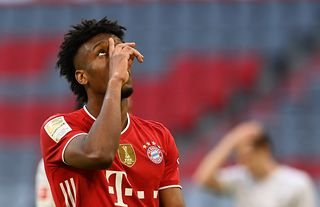 Bayern Munich's Kingsley Coman celebrating amid speculation over a move to Man United