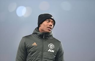 Anthony Martial warms up for Manchester United at Old Trafford