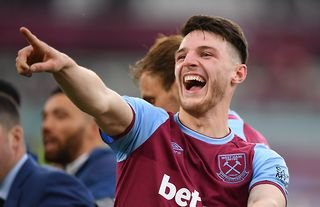 Declan Rice celebrates for West Ham amid speculation over a move to Man United