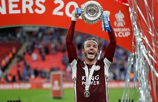 James Maddison celebrating winning the FA Cup amid speculation over a move to Arsenal