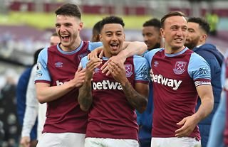 Declan Rice, Jesse Lingard and Mark Noble in action for West Ham