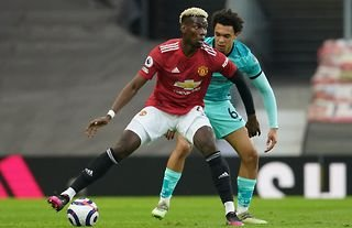 Paul Pogba in action for Manchester United against Liverpool