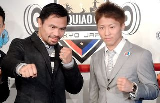 Manny Pacquiao poses for a photo with Naoya Inoue in Tokyo