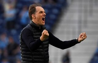 Chelsea manager Thomas Tuchel celebrating during the Champions League final