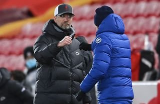 Liverpool and Chelsea managers Thomas Tuchel and Jurgen Klopp shake hands