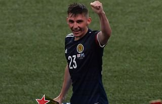 Billy Gilmour in action for Scotland vs England in Euro 2020