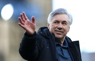 Former Everton manager Carlo Ancelotti waves at the fans