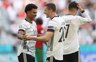 Robin Gosens celebrates scoring for Germany amid speculation over a move to Man United