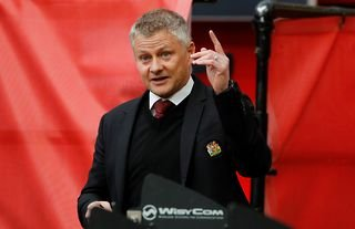 Ole Gunnar Solskjaer on the sidelines for Man United amid speculation over a move for Max Aarons