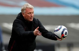 West Ham manager David Moyes with the ball in his hand