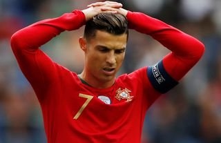 Juventus' Ronaldo bemoans a missed chance for Portugal.