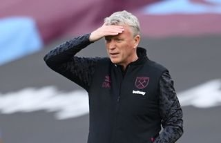 West Ham manager David Moyes puts his hand to his head
