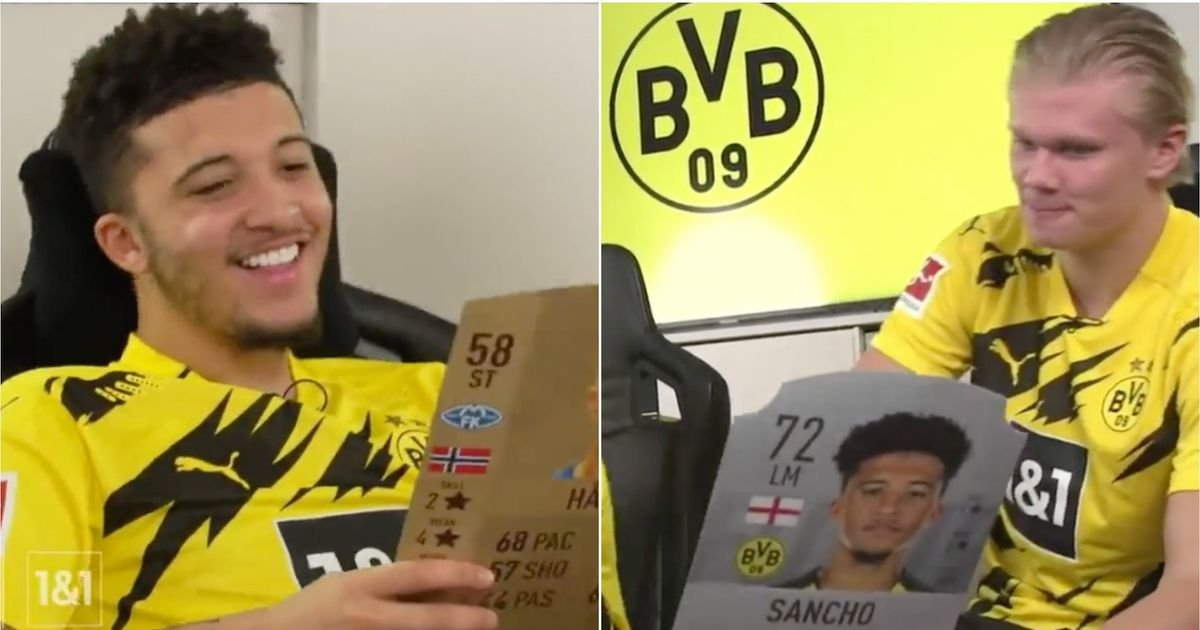 Jadon Sancho and Erling Haaland reacting to their first FIFA Final Staff playing cards is good