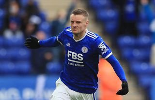 Jamie Vardy celebrates after scoring for Leicester City