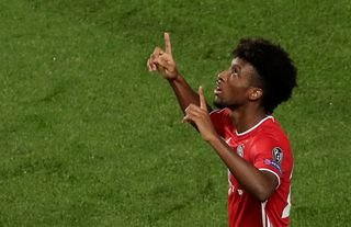 Liverpool target Kingsley Coman looking up to the skies