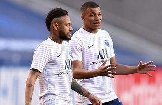 Neymar and Kylian Mbappe in action for PSG