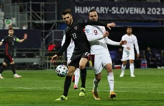 Mario Vuskovic in action for the Croatian under-21 side