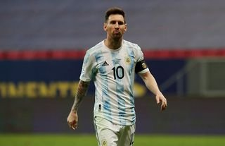 Lionel Messi playing for Argentina at Copa America
