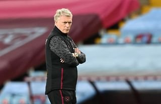 West Ham manager David Moyes with a stern look on his face