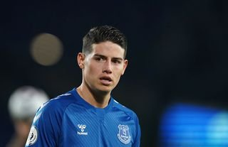 Everton star James Rodriguez watches on at Goodison Park