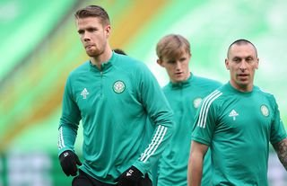 Celtic star Kristoffer Ajer warms up in Glasgow