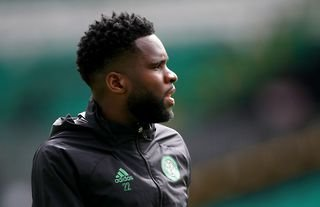Odsonne Edouard warms up for Celtic in Glasgow