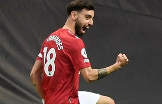 Bruno Fernandes celebrates for Man United amid speculation over a move for Ruben Neves
