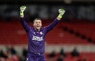 Aston Villa target Marcus Bettinelli celebrating while on loan at Middlesbrough