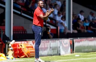 Crystal Palace manager Patrick Vieira giving instructions on the touchline