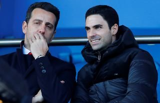 Arsenal boss Mikel Arteta and director Edu in the stands