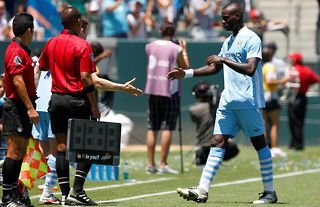 Man City's Balotelli is infamously subbed off vs LA Galaxy.